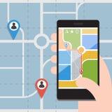 Intelligente Telefone mit GPS-Navigation Flaches Design des Vektors Lizenzfreies Stockbild