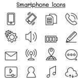 Intelligente Telefonikone stellte in dünne Linie Art ein Lizenzfreies Stockfoto