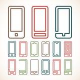 Intelligente Telefonzusammenfassungsikonen Stockbild