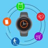 Intelligente Uhr auf einem blauen Hintergrund Stockfotos