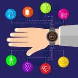 Intelligente Uhr auf männlichem elektronischem Gerät der Handneuen Technologie Lizenzfreie Stockfotos