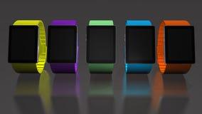 Intelligente Uhr Kreative Geschäftsmobilität und modernes bewegliches tragbares Gerättechnologiekonzept Färben Sie digitale intel Stockbilder