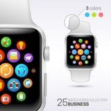 Intelligente Uhr mit weißer Manschette Stockbilder