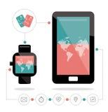 Intelligente Uhr schließen an intelligentes Telefon an Zahlung und andere Funktionsikonen eingestellt Lizenzfreie Stockfotografie