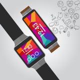 Intelligente Uhren des tragbaren Vektors mit Ikone Stockbilder