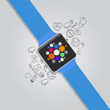 Intelligente Uhren des tragbaren Vektors mit Ikone Lizenzfreies Stockbild