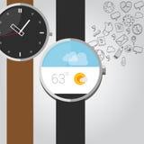 Intelligente Uhren des tragbaren Vektors mit Ikone Lizenzfreie Stockfotos