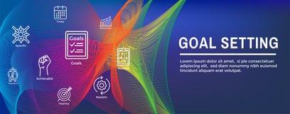 Intelligente Ziele oder Zielsetzungs-Ikonen-Satz und Netz-Titel-Fahne vektor abbildung
