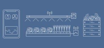 Intelligenter Bauernhof und Landwirtschaft Überwachung und Kontrolle der Temperatur, Feuchtigkeit, Lichtniveau Bearbeitung der An lizenzfreie abbildung