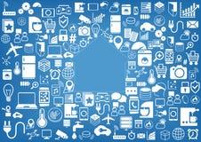Intelligenter Hausautomationshintergrund Ikonen/Symbole für verschiedene Geräte und Sensoren stock abbildung