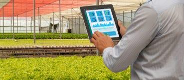 Intelligenter Industrieroboter 4 Iot 0 Landwirtschaftskonzept, industrieller Agronom, der Landwirt, der Tablette verwendet, um zu lizenzfreies stockfoto
