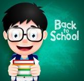 Intelligenter Jungen-Charakter-tragende Brillen und Rucksack vektor abbildung