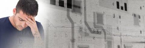 Intelligenter Technologieübergang des frustrierten Mannes und des grauen Schmutzes Lizenzfreies Stockbild