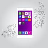 Intelligenter Telefonfunktionsikonen-Konzeptvektor Lizenzfreies Stockfoto