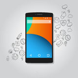 Intelligenter Telefonfunktionsikonen-Konzeptvektor Lizenzfreie Stockfotos