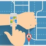 Intelligenter Uhr-Navigator, Vector flaches Design Lizenzfreies Stockbild