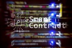 Intelligenter Vertrag, blockchain Technologie im modernen Geschäft Lizenzfreies Stockbild
