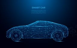 Intelligentes Auto Abstraktes Bild eines intelligenten Autos in Form eines sternenklaren Himmels oder eines Raumes Geschwindigkei lizenzfreie abbildung