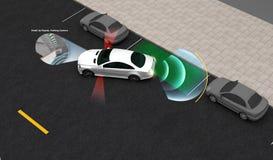 Intelligentes Auto, parkendes Vorlagen-System mit Head-up-display, Bild 3D stock abbildung