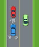 Intelligentes Auto, Sicherheit Fernerkundungs-System des Fahrzeugs Farbe flach Stockfotos