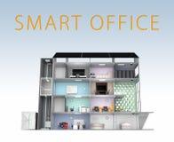 Intelligentes Bürokonzept Energieunterstützung durch Sonnenkollektor, Lagerung zur Batterieanlage Mit Text Stockfotos