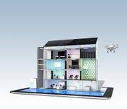 Intelligentes Bürogebäude auf Tablet-PC Die intelligenten Energieunterstützung des Büros durch Sonnenkollektor, Lagerung zur Batt Lizenzfreie Stockfotografie