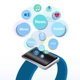Intelligentes elektronisches Gerät der neuen Technologie der Uhr Stockbild