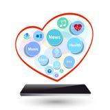 Intelligentes elektronisches Gerät der neuen Technologie der Uhr mit apps Ikonen an Stockbild