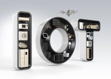 Intelligentes Gerät im Wort IoT Stockfoto