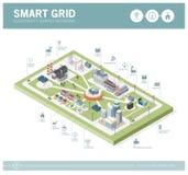Intelligentes Gitter und Stromversorgung vektor abbildung