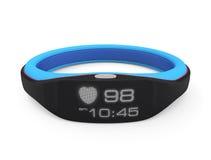 Intelligentes Handgelenkband, das Herzfrequenz und Zeit anzeigt Lizenzfreies Stockbild