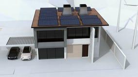 Intelligentes Haus angetrieben durch Sonnenkollektoren und Windkraftanlage Elektro-Mobil, das in der Garage neulädt stock video footage