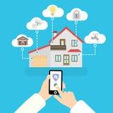 Intelligentes Haus des Vektors in Ihrem Telefon Illustration auf blauem Hintergrund Ikonen in den Wolken Lizenzfreies Stockfoto
