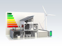 Intelligentes Haus mit Sonnenkollektorsystem, Energiesparendes Diagramm Stockfotografie