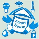 Intelligentes Haus oder digitales Hauptvektorplakat Überwachungstechniksystem der Hausautomatisierung und -managements Energie, S vektor abbildung