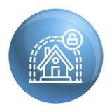 Intelligentes Haus schützen Ikone, Entwurfsart lizenzfreie abbildung