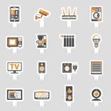 Intelligentes Haus und Internet von den Sachenaufkleberikonen eingestellt Stockfotos