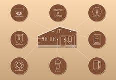 Intelligentes Haus und Internet von Sachen auf braunem Hintergrund stockbild