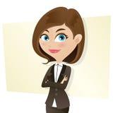 Intelligentes Mädchen der Karikatur in der Geschäftsuniform mit den gefalteten Armen Stockbild