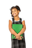 Intelligentes Mädchen mit großem Grünbuch Stockbild