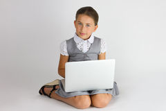 Intelligentes Mädchen mit Notizbuch Stockfotos