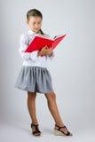 Intelligentes Schulmädchen, das ein Buch liest Lizenzfreies Stockbild