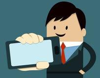 Intelligentes Telefon der Geschäftsmann-Show Stockfoto