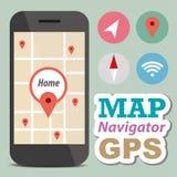 Intelligentes Telefon des Navigatorkonzeptes mit Ikone Lizenzfreies Stockbild