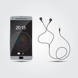 Intelligentes Telefon des Vektors mit Kopfhörern stock abbildung