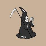 Intelligentes Telefon Halloween-Teufels Stockfoto