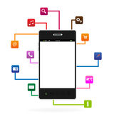 Intelligentes Telefon mit APP-Ikone Lizenzfreie Stockfotografie