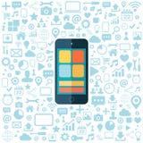 Intelligentes Telefon mit den blauen Ikonen eingestellt Flache Vektorillustration Lizenzfreies Stockbild