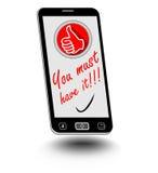 Intelligentes Telefon mit der Herausforderung müssen Sie sie auf Anzeige haben Kleines Emblem mit den Daumen oben als Symbol der  stock abbildung