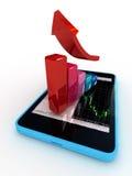 Intelligentes Telefon mit Diagramm Lizenzfreie Stockbilder